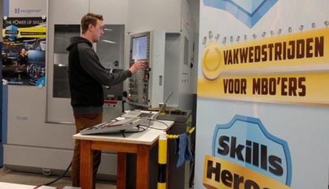 Student Tech College Nieuwegein in finale Skills Heroes CNC Frezen