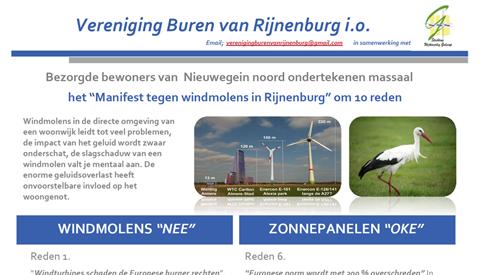 Politiek en bewoners in actie tegen windmolens in Polder Rijnenburg