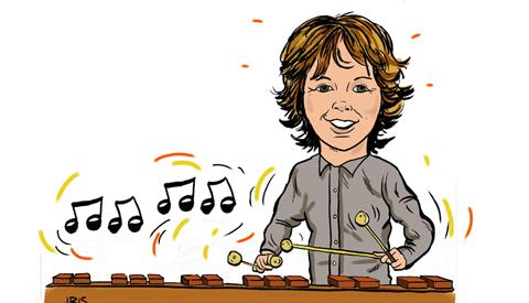 PENTekening: 'Steije Maurer, hij bespeelt de Marimba'