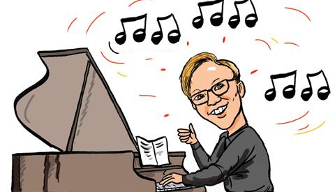 PENTekening: 'Radu Ratering, hij speelt piano'