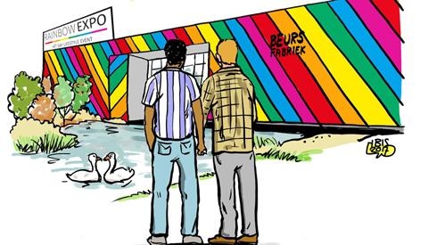 PENTekening: 'De Beursfabriek in regenboogkleuren'