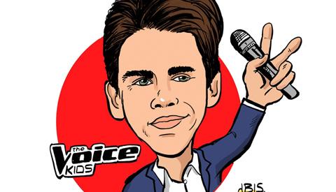 PENTekening: 'Nieuwegeiner Thijs Swinkels in The Voice Kids'
