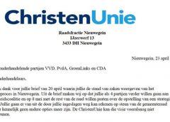 Christen Unie schrijft Open Brief aan onderhandelende partijen VVD, PvdA, GroenLinks en CDA