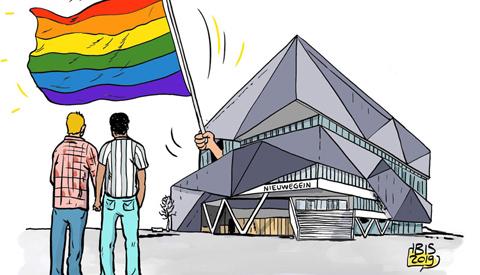 PENTekening: 'De regenboogvlag wappert ook in Nieuwegein'