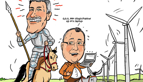 PENTekening: 'Ton Quichot en Martino Pancha in de strijd tegen windmolens'