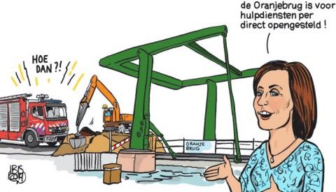 PENTekening: 'De Oranjebrug direct open voor de hulpdiensten!'