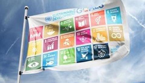 Vlag gehesen voor Global Goals in Nieuwegein