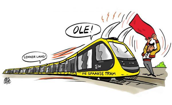 PENTekening: 'Jippie, de nieuwe superlange trams mogen rijden mét reizigers!''