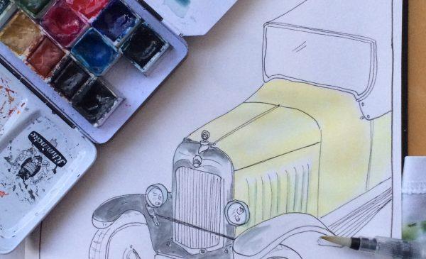 'Sketchcrawl' teken met KunstGein Podium bij Damsté Nieuwegein
