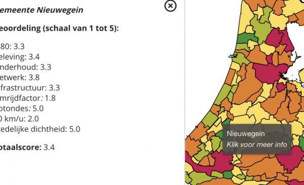 Nieuwegein scoort gemiddeld tijdens Fietsstad 2020 verkiezing