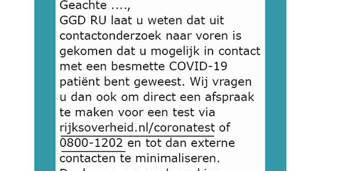 GGDrU waarschuwt voor nep-sms met oproep voor Coronatest: 'Klik niet op link'