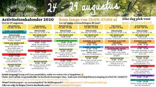 Programma Buurtcamping Galecop 2020 bekend