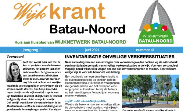De wijkkrant voor de wijk Batau-Noord is weer uit